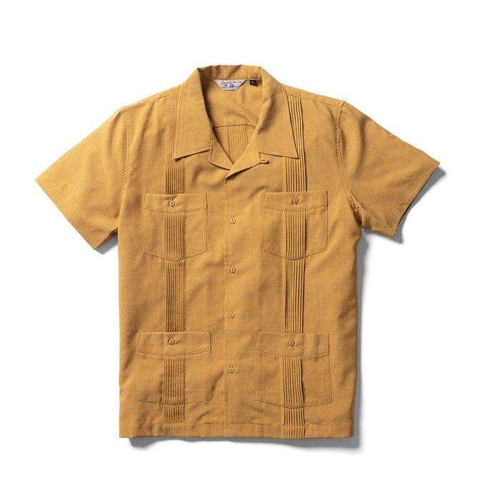 美國東村【Retrodandy】濃韻南美風情 打褶古巴襯衫 Cuba Shirt - 芥黃 粉色