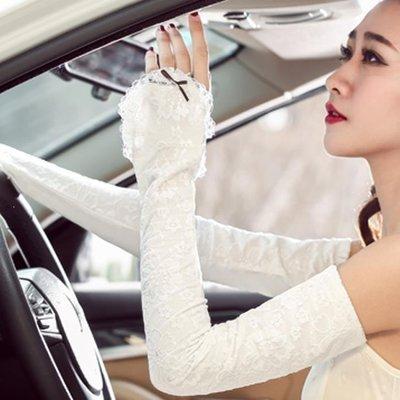 YEAHSHOP 防曬手套女士夏薄長款蕾絲套袖春夏天防紫外線開車護手臂套假袖子Y185
