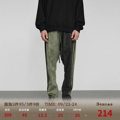 RASS麂皮拼接長褲國潮牌美式高街嘻哈春秋季款寬松直筒休閑褲子男