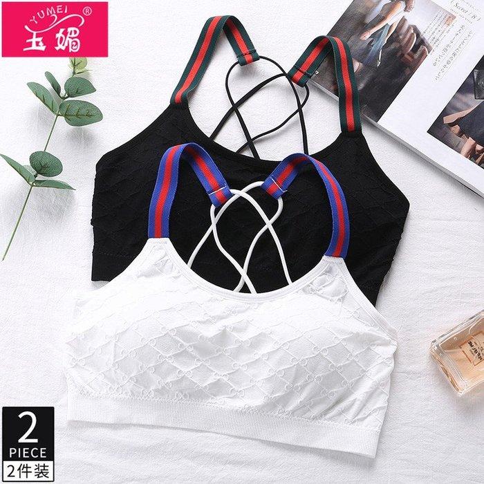 衣萊時尚-2件裹胸吊帶背心運動抹胸內衣女無鋼圈學生高中少BzXzWJmUWY
