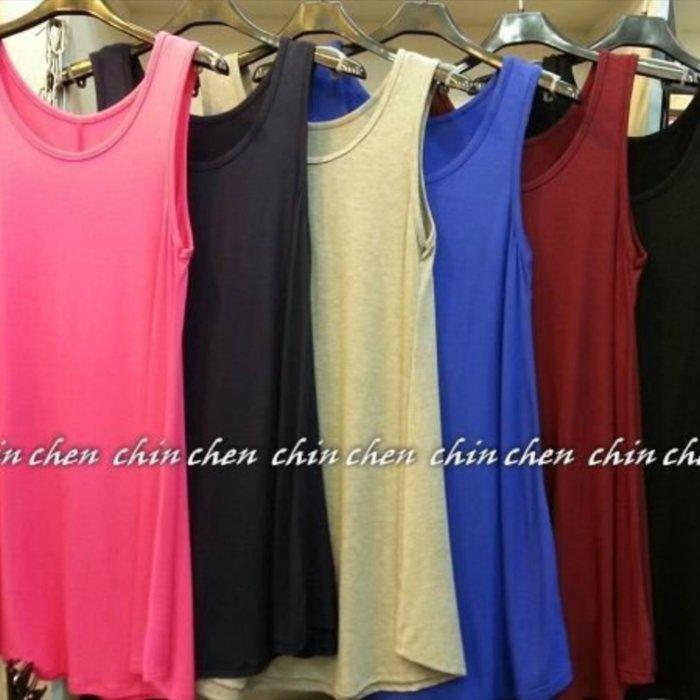 CHiNCHeN 六色傘狀長版絲光棉超大彈性長版背心.背心洋裝.孕婦皆可穿