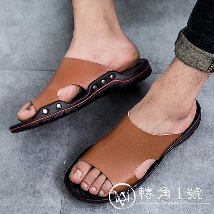 夏季特大碼拖鞋男45真皮46防滑47一字拖沙灘鞋48加肥49加大號涼鞋ZJ1H11883