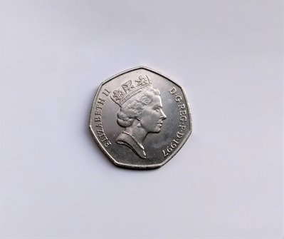 1997 年 英國 伊莉莎白 2世 ELIZABETH·II D·G·REG·F·D 50 FIFTY PENCE 錢幣