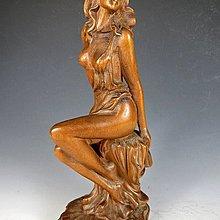 【 金王記拍寶網 】H089  中國近代木雕 雕刻 美人 裸女一尊 精品木雕 罕見稀少~