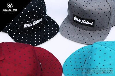 MIX TALENT 點點 波點 配色 硬挺 休閒 棒球帽 - 黑 、 灰 、 酒紅 、 Tiffany綠