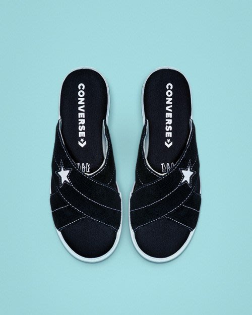 【Luxury】Converse One Star 厚底 麂皮 拖鞋 絨布 軍綠 黑 軟底 男女款 海綿 韓國 正品代購