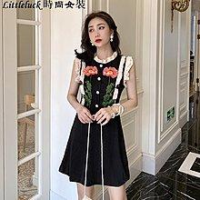 Littleluck~女裝法式復古裙子洋裝女2019夏裝新款氣質修身刺繡花朵木耳邊無袖連身裙潮