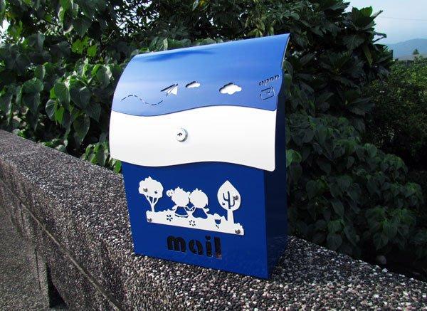 ☆成志金屬☆超漂亮#304不鏽鋼有鎖信箱,耐用精緻,抗生鏽不畏風雨-孔雀藍特別版