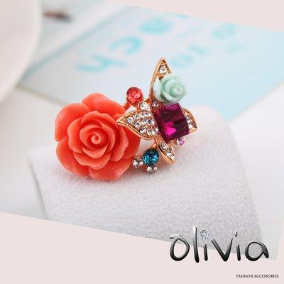 戒指 華麗紅玫瑰方晶鋯石施華洛世奇彩鑽厚鍍14K真金戒指【KA03169】Olivia Fashion