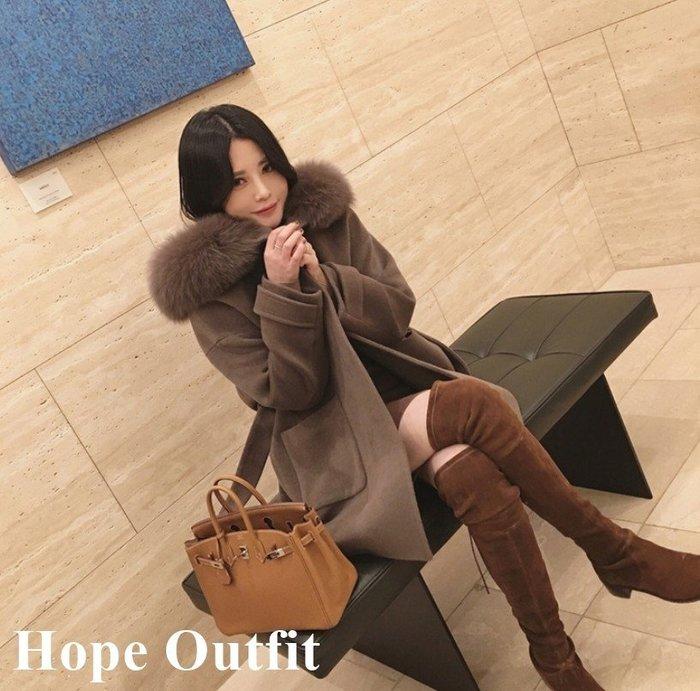 實拍影片!點進來~韓國 東大門 氣質大毛領駝灰色外套  毛領可拆 中長款毛呢外套 毛大衣 毛外套