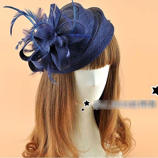 5Cgo【鴿樓】會員有優惠  23856600865 歐美 英倫複古麻紗小禮帽 羽毛貝雷帽 麻紗花朵鉓飾 誇張頭飾