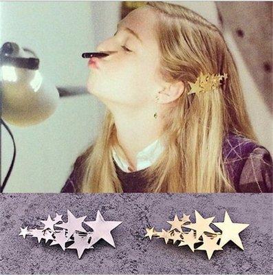 歐美金屬星星發夾彈簧夾韓版簡約發卡劉海夾邊夾一字夾盤發器頭飾