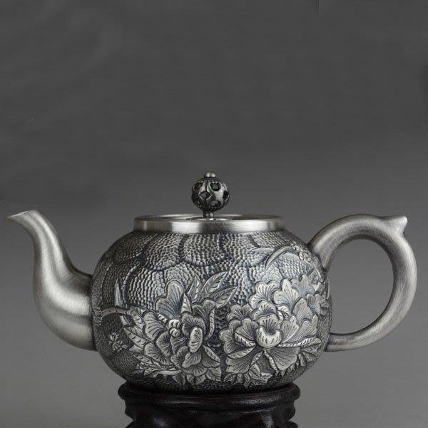 5Cgo【茗道】含稅會員有優惠 539563856430 大容量純銀富貴牡丹茶壺泡茶壺茶杯泡茶茶玩功夫茶手工刻制S999