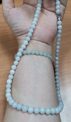 天然翡翠A貨~淡紫羅蘭珠鍊