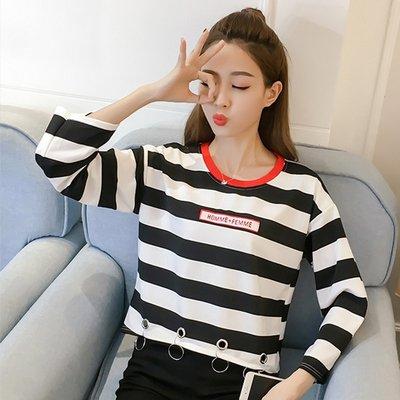 秋裝新款韓版潮學生寬鬆chic長袖上衣小清新原宿風套頭短款衛衣女