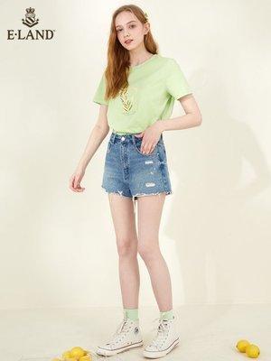 【新品特惠】夏季 短褲ELAND夏季新款做舊破洞ins泫雅風牛仔短褲女EETJA6502I【全館免運】