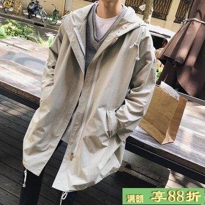 韓版男士薄款風衣學生中長款外套bf原宿風寬鬆秋裝潮