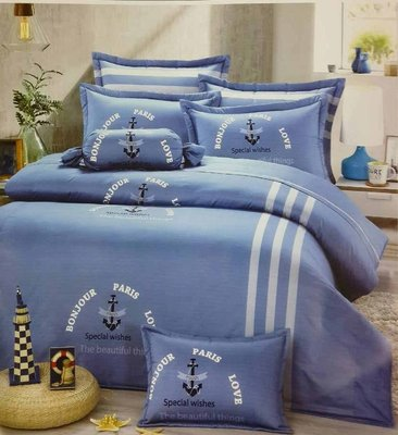 《賞越寢飾》~五件式印花舖棉床罩組 100%精梳棉台灣製(可訂做)