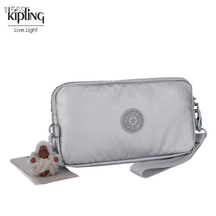 Kipling 猴子包 金屬銀 K70109 拉鍊手掛包 零錢包 長夾 手拿包 鈔票/零錢/卡包 輕便多夾層 防水 限量