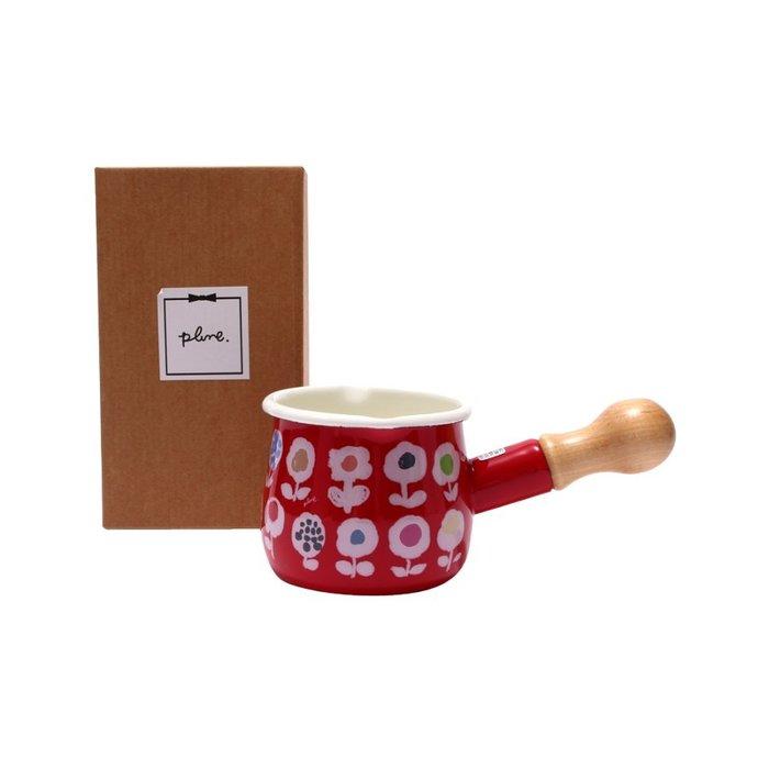 日本製Plune 琺瑯木柄牛奶鍋無蓋 (550ml)