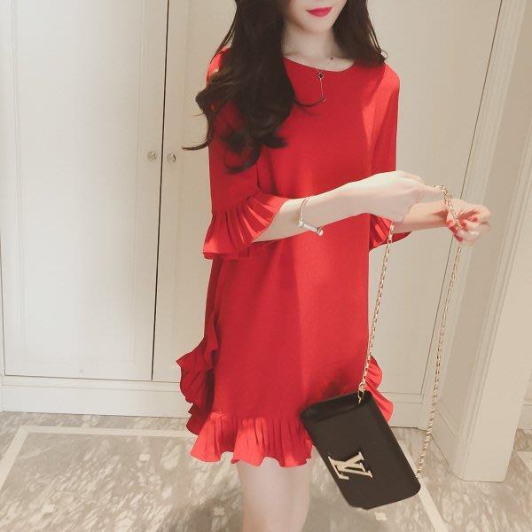 2016新款女装韩范学生甜美可爱百搭五分袖荷叶边宽松雪纺连衣裙女