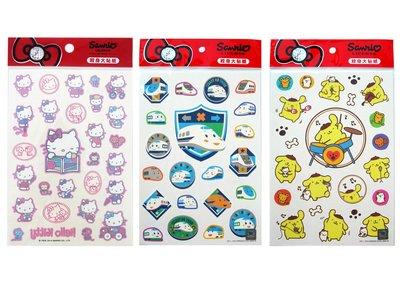 【卡漫迷】 三麗鷗 紋身 大 貼紙 三款選4 ㊣版 Hello Kitty 布丁狗 新幹線 轉印 蒸氣小火車 卡通造型