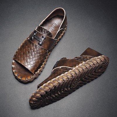 【時尚先生男裝】編制涼鞋男夏時尚外穿真皮涼鞋韓版室外羅馬涼鞋軟底男士沙灘鞋RJS01798