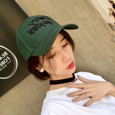 YEAHSHOP 鴨舌帽 復古墨綠深草綠色刺繡字Y185