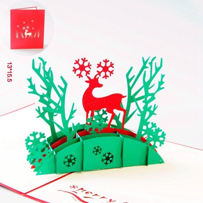 韓版韓系韓國少女萌妹居家百搭潮流裝飾文藝歐式超美實用個性心機款滿減貨到付款3D立體圣誕賀卡定制小鹿精靈圣誕節禮品新年禮物