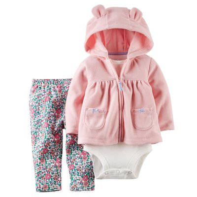 [[W&R]] ((0-24m)) Carter's 三件組 粉色輕柔連帽外套+包屁衣+碎花長褲 24m 台中市