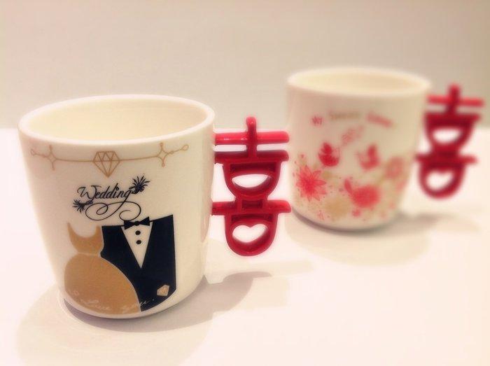 尼克卡樂斯家居精品~喜字陶瓷馬克單杯 咖啡杯 喜字杯 結婚禮物 情人節  囍字杯 婚禮小物