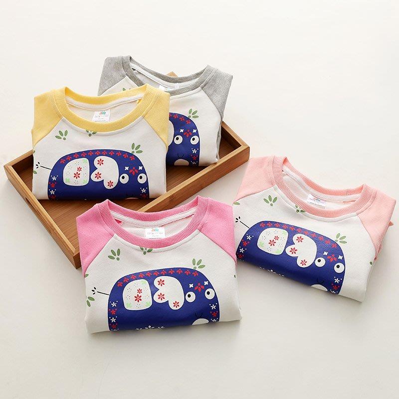 【親子百寶袋】寶寶小象衛衣 2018秋裝韓版新款童裝女童裝兒童拼袖套頭衫