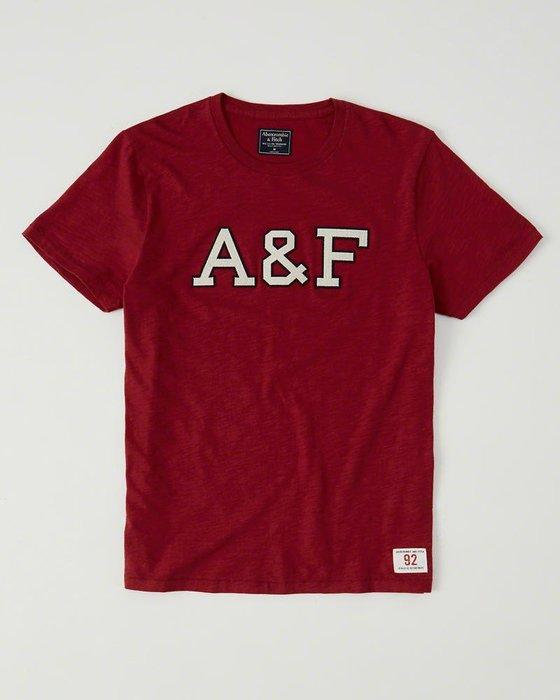 Maple麋鹿小舖 Abercrombie&Fitch * AF 紅色電繡字母短T * ( 現貨M號 )