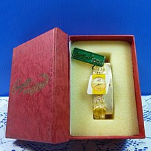 【水晶錶】全新絕版 鱷魚錶 (菱黃框黃面) 水晶錶帶手圍可調整 附盒 尺寸:9*3.5*2.5㎝ 重量:90g