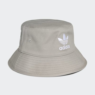 FOCA ☆ ADIDAS ORIGINALS 愛迪達 基本款 黑白 女 大LOGO 三葉草 漁夫帽 灰色 GN4905