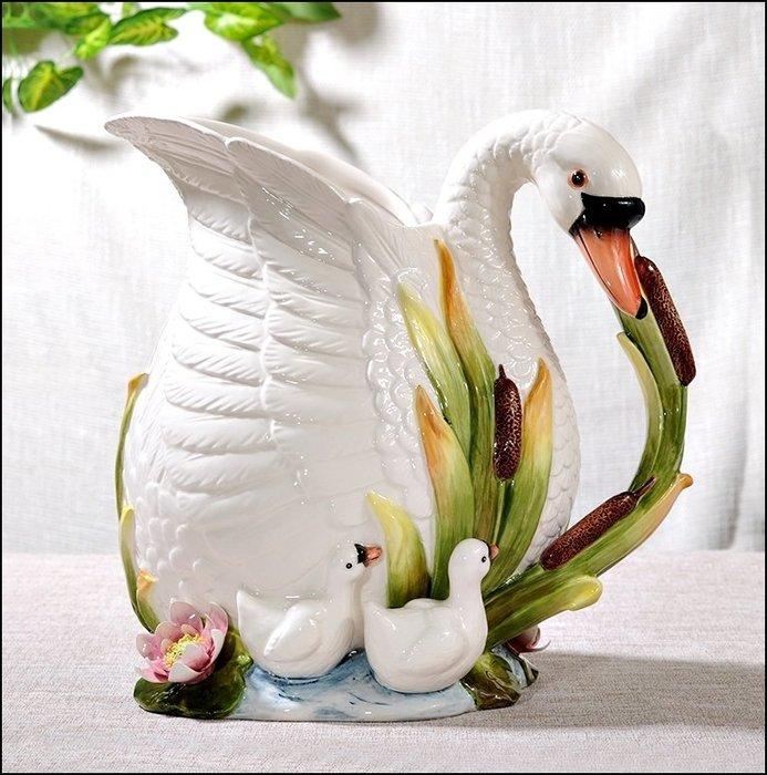 歐式田園風 白色立體天鵝花器花盆 陶瓷天鵝全家 福擺件裝飾品擺飾品花架 高質感生日入宅祝賀送禮品【歐舍傢居】