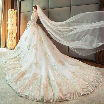 婚紗 禮服 婚紗禮服女2019新款春季重工奢華新娘結婚長袖公主夢幻長拖尾v領
