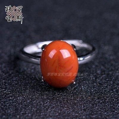 【月壺】天然南紅瑪瑙銀鑲戒指 925銀戒活口托可自由調節