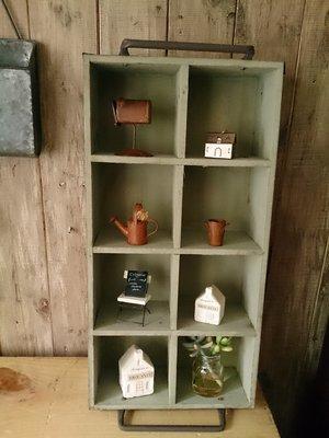 【日花里悠然生活雜貨】 日本進口 自然 雜貨風 SHABBY花園鐵提把8格木盒#3691