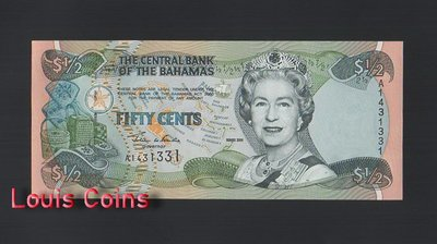 【Louis Coins】B816-BAHAMAS-2001巴哈馬紙幣,50 Cents