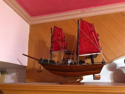 實木製作 手工藝 帆船 擺設藝術品 舵葉能轉動