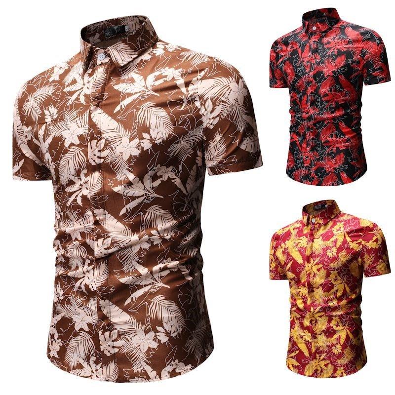 夏季男士休閒Short-sleeved flower shirt