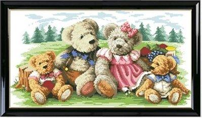 2【磚石畫材料包】5d鑽石繡貼鑽畫滿鑽磚石畫diy貼方鑽粘鑽十字繡滿鑽 兒童郊外小熊