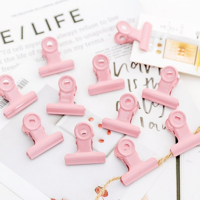 吖吖雜貨店*少女心ins裝飾金屬粉色夾子票據收納資料夾擺拍攝影拍照拍攝道具優惠推薦(八件起購買)