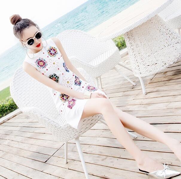 旗袍 實拍洋裝 氣質名媛淑女新款夏天裙子 女裝小個子白色無袖連身裙短裙—莎芭