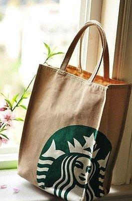 嘉芸的店 日本帶回 星巴克 STARBUCKS 日本正版 圓底手提包 棉麻手提袋