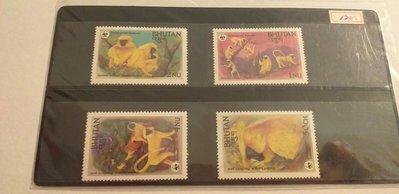 Bhutan 1984WWF金葉猴郵票4全,特價120元。