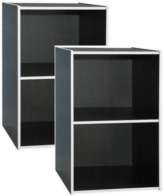 【家具先生】 1200-BK  炫彩開放二格書櫃-個性黑(二入組)