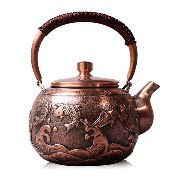 5Cgo【茗道】含稅會員有優惠 546274986457 紫銅壺燒水壺茶壺茶杯泡茶功夫茶純手工加厚銅壺泡紅茶功夫茶具單壺