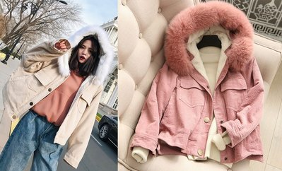 CHOU CHOU→奢華真狐狸毛領燈芯絨寬鬆連帽暖暖鋪絨外套~粉色
